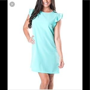 All for color ruffle turquoise dress S